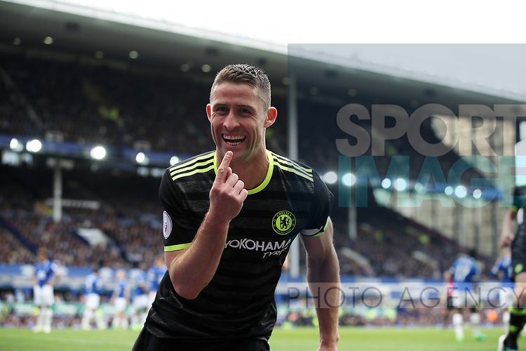 Gary Cahill of Chelsea celebrates scoring during the English Premier League match at Goodison Park , Liverpool. Picture date: April 30th, 2017. Photo credit should read: Lynne Cameron/Sportimage