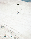 ARGENTINA, Bariloche, Cerro Cathedral, elevated view of person snow boarding on snow