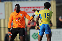 George Kamurasi of Herne Bay and Chid Onokwai of Haringey square up during Haringey Borough vs Herne Bay, Emirates FA Cup Football at Coles Park Stadium on 7th September 2019