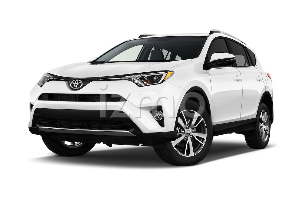 Stock pictures of low aggressive front three quarter view of 2018 Toyota RAV4 XLE 5 Door SUV Low Aggressive