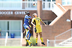 30 August 2013: Duke's Toni Payne (10) and Kennesaw State's Monica Herrera (9) challenge for a header. The Duke University Blue Devils played the Kennesaw State University Owls at Fetzer Field in Chapel Hill, NC in a 2013 NCAA Division I Women's Soccer match. Duke won 1-0.