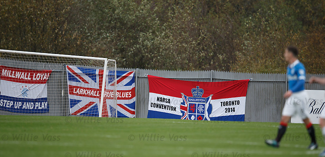 Rangers fans flags at Dumbarton