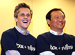 June 8, 2016, Tokyo, Japan - American online storage service giant Box Inc. CEO Aaron Levie (L) smiles with Japanese computer giant Fujitsu executive Hiroyuki Sakai as they agreed partnership between Box and Fujitsu in Tokyo on Wednesday, June 8, 2016. Fujitsu and Box will enter a strategic partnership in the content management space and Box will help control data storage expansion costs.   (Photo by Yoshio Tsunoda/AFLO) LWX -ytd-