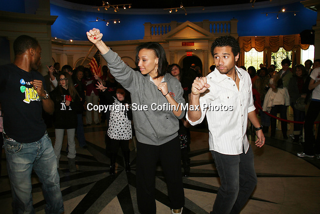 """Corbin Bleu teaches dance to the kids of Camp Broadway at the 14th Annual Kids' Night on Broadway 2010  """"Fan Festival"""" on February 2, 2010 at Madame Tussauds New York - Corbin Bleu (new star of In the Heights and High School Musical veteran.  (Photo by Sue Coflin/Max Photos)"""