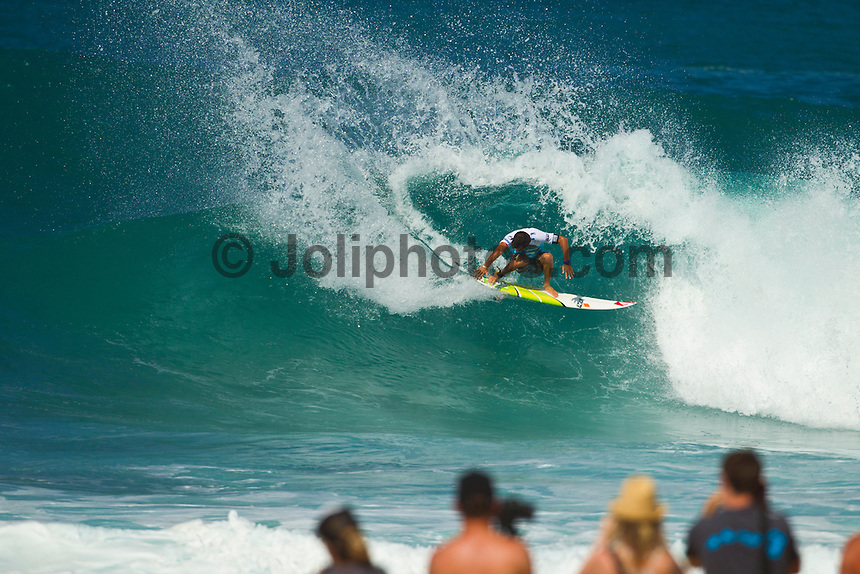 PIPELINE, Oahu/Hawaii (Wednesday, December 8, 2010) Jeremy Flores (FRA).  - Day 1 of the Billabong Pipe Masters in Memory of Andy Irons, the third and final stop on the Vans Triple Crown of Surfing (an ASP Specialty Series) got underway today, with Rounds 1 and 2 completed in challenging six foot (2 metre) waves at the Banzai Pipeline on Oahu's North Shore.. .The final stop on the 2010 ASP World Tour, the Billabong Pipe Masters in Memory of Andy Irons utilized the ASP's Dual Heat Format today, overlapping the man-on-man matches to take advantage of the swell on offer. With a smattering of Pipeline specialists lining the field, the world's best surfers campaigned against one another and the elements to ensure their position amongst the world's best surfers for 2011.. .Dusty Payne (HAW), 21, 2010 ASP World Tour rookie, currently sits at No. 36 on the ASP World Rankings in need of at least an Equal 9th to vault himself into a requalification spot for 2011..Payne faces two-time ASP World Champion Mick Fanning (AUS), 29, in Round 3 of the Billabong Pipe Masters in Memory of Andy Irons.. .Joel Parkinson (AUS), 29, in his first ASP World Tour event back since injury, posted a convincing Round 2 victory over wildcard Heitor Alves (BRA), 28, in trying conditions out at Pipeline.. .Photo: joliphotos.com