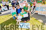 Clodagh Wharton, Noreen Flynn, Clare and Christy O'Sullivan, Shane Wharton and Anita O'Sullivan Wharton  attending the Kerry County Council protest on Monday morning.