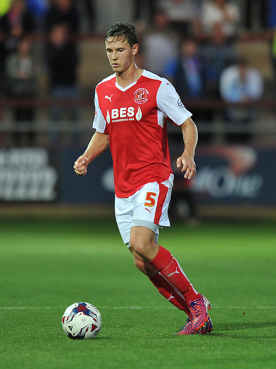 Fleetwood Town's Eggert Jonsson on the ball<br /> <br /> Photographer Dave Howarth/CameraSport<br /> <br /> Football - Capital One Cup First Round - Fleetwood Town v Hartlepool United - Tuesday 11th August 2015 - Highbury Stadium - Fleetwood<br />  <br /> &copy; CameraSport - 43 Linden Ave. Countesthorpe. Leicester. England. LE8 5PG - Tel: +44 (0) 116 277 4147 - admin@camerasport.com - www.camerasport.com