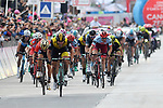 Enrico Battaglin (ITA) Team Lotto NL-Jumbo outsprints Giovanni Visconti (ITA) Bahrain-Merida to win Stage 5 of the 2018 Giro d'Italia, running 153km from Agrigento to Santa Ninfa (Valle del Belice), Sicily, Italy. 9th May 2018.<br /> Picture: LaPresse/Gian Mattia D'Alberto | Cyclefile<br /> <br /> <br /> All photos usage must carry mandatory copyright credit (&copy; Cyclefile | LaPresse/Gian Mattia D'Alberto)