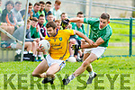 Ger McCarthy Feale Rangers on the attack with John O'Connor St Kierans close by during the Garveys Supervalu County Championship game played in Listowel on Sunday