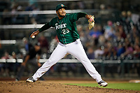 Fort Wayne TinCaps relief pitcher Jordan Guerrero (23) delivers a pitch during a game against the West Michigan Whitecaps on May 17, 2018 at Parkview Field in Fort Wayne, Indiana.  Fort Wayne defeated West Michigan 7-3.  (Mike Janes/Four Seam Images)
