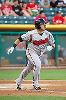 Caleb Gindl (13) of the Nashville Sounds at bat against the Salt Lake Bees in Pacific Coast League action at Smith's Ballpark on June 23, 2014 in Salt Lake City, Utah.  (Stephen Smith/Four Seam Images)