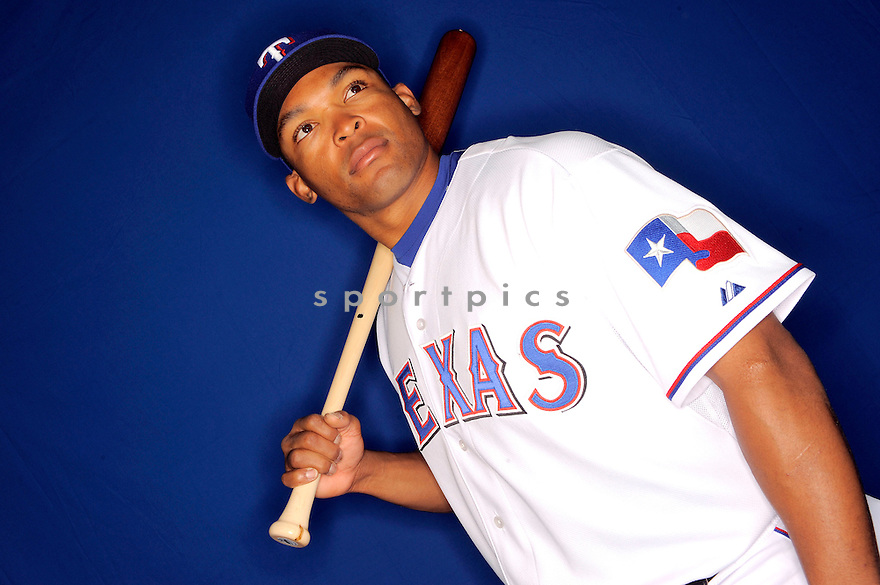 MARLON BYRD, of the Texas Rangers, during photo day of spring training and the Ranger's training camp in Surprise, Arizona on February 24, 2009.