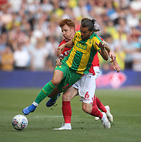 Nottingham Forest's Jack Colback battles with  West Bromwich Albion's Jay Rodriguez<br /> <br /> Photographer Mick Walker/CameraSport<br /> <br /> The EFL Sky Bet Championship - Nottingham Forest v West Bromwich Albion - Tuesday August 7th 2018 - The City Ground - Nottingham<br /> <br /> World Copyright &copy; 2018 CameraSport. All rights reserved. 43 Linden Ave. Countesthorpe. Leicester. England. LE8 5PG - Tel: +44 (0) 116 277 4147 - admin@camerasport.com - www.camerasport.com