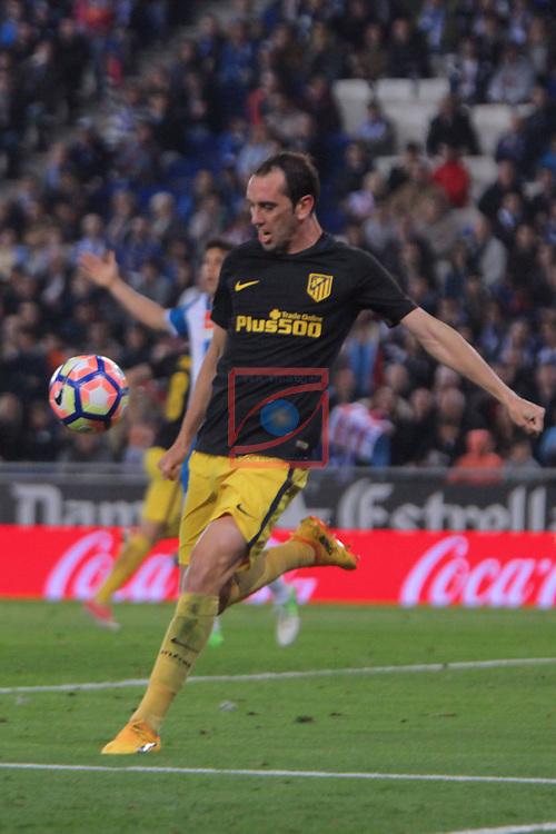 League Santander 2016/2017. Game: 33.<br /> RCD Espanyol vs Atletico de Madrid: 0-1.<br /> Godin.