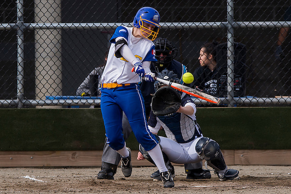 MARCH 18, 2016 -- Action from an NAIA Cascade Collegiate Conference softball game between the University of British Columbia Thunderbirds and the Northwest Christian Beacons at Softball City, Surrey, British Columbia, Canada. March 18, 2016 (Rich Lam/UBC Athletics Photo)<br /> <br /> ***MANDATORY CREDIT***