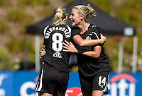 Solveig Gulbrandsen of Gold Pride celebrates with Becky Edwards after scoring a goal during the second half of the game against Washington Freedom at Pioneer Stadium in Hayward, California.  Gold Pride defeated Washington Freedom, 3-2.
