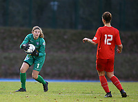 20191221 - WOLUWE: Gent's goal keeper Faye Lammertijn catches the ball during the Belgian Women's National Division 1 match between FC Femina WS Woluwe A and KAA Gent B on 21st December 2019 at State Fallon, Woluwe, Belgium. PHOTO: SPORTPIX.BE | SEVIL OKTEM