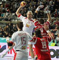 12.01.2013 Barcelona, Spain. IHF men's world championship, Quarter-Final. Picture show Henrik Mollgaard   in action during game between Denmark vs Hungary at Palau ST Jordi