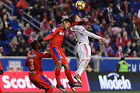 Harrison, NJ - Thursday March 01, 2018: German Mejía, Alex Muyl. The New York Red Bulls defeated C.D. Olimpia 2-0 (3-1 on aggregate) during a 2018 CONCACAF Champions League Round of 16 match at Red Bull Arena.