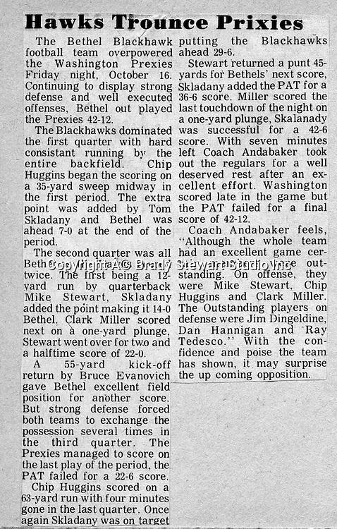 Bethel Park Blackhawks vs Washington High Prexies - 1970