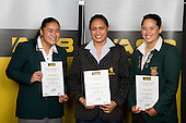 Girls Rugby Union finalists Chanelle Tuigamala, Vienna James & Leana Cvitanovich. ASB College Sport Young Sportperson of the Year Awards 2008 held at Eden Park, Auckland, on Thursday November 13th, 2008.