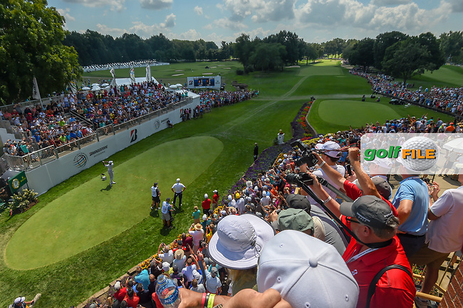Tiger Woods (USA) watches his tee shot on 1 during 3rd round of the World Golf Championships - Bridgestone Invitational, at the Firestone Country Club, Akron, Ohio. 8/4/2018.<br /> Picture: Golffile   Ken Murray<br /> <br /> <br /> All photo usage must carry mandatory copyright credit (© Golffile   Ken Murray)