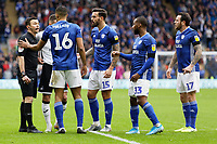 Crdiff players protest to referee Tony Harrington after awarding a free kick outside the penalty area during the Sky Bet Championship match between Cardiff City and Swansea City at the Cardiff City Stadium, Cardiff, Wales, UK. Sunday 12 January 2020