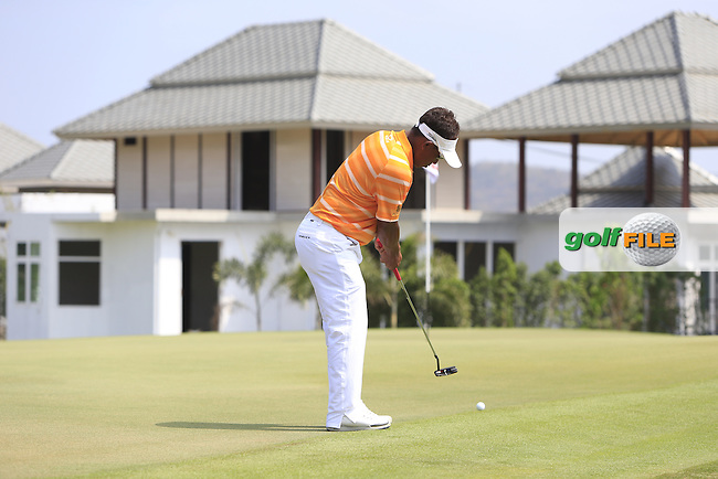 Thongchai Jaidee (THA) on the 9th green during Round 4 of the True Thailand Classic at the Black Mountain Golf  Club on Sunday 15th February 2015.<br /> Picture:  Thos Caffrey / www.golffile.ie
