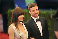 Jessica Biel and Justin Timberlake at the 'Schiaparelli And Prada: Impossible Conversations' Costume Institute Gala at the Metropolitan Museum of Art on May 7, 2012 in New York City. © mpi03/MediaPunch Inc.
