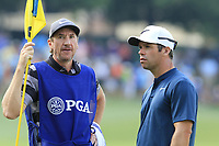 Paul Casey (ENG) and John Mclaren on the 14th green during Thursday's Round 1 of the 2017 PGA Championship held at Quail Hollow Golf Club, Charlotte, North Carolina, USA. 10th August 2017.<br /> Picture: Eoin Clarke | Golffile<br /> <br /> <br /> All photos usage must carry mandatory copyright credit (&copy; Golffile | Eoin Clarke)