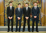 King Felipe VI recives in Zarzuela Palace at motorcycle word championships. Marc Marquez, Alex Marquez, Esteve Rabat and Toni Bou. 2014/11/20. Samuel de Roman / Photocall3000