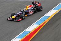 HOCKENHEIM, ALEMANHA, 20 JULHO 2012 - FORMULA 1 - GP DA ALEMANHA -   O piloto alemao Sebastian Vettel da equipe Red Bull Racing durante o primeiro dia de treinos livres no circuito de Hockenheim nesta sexta-feira, 20. Domingo acontece a 10 etapa da F1 no GP da Alemanha. (FOTO: PIXATHLON / BRAZIL PHOTO PRESS).