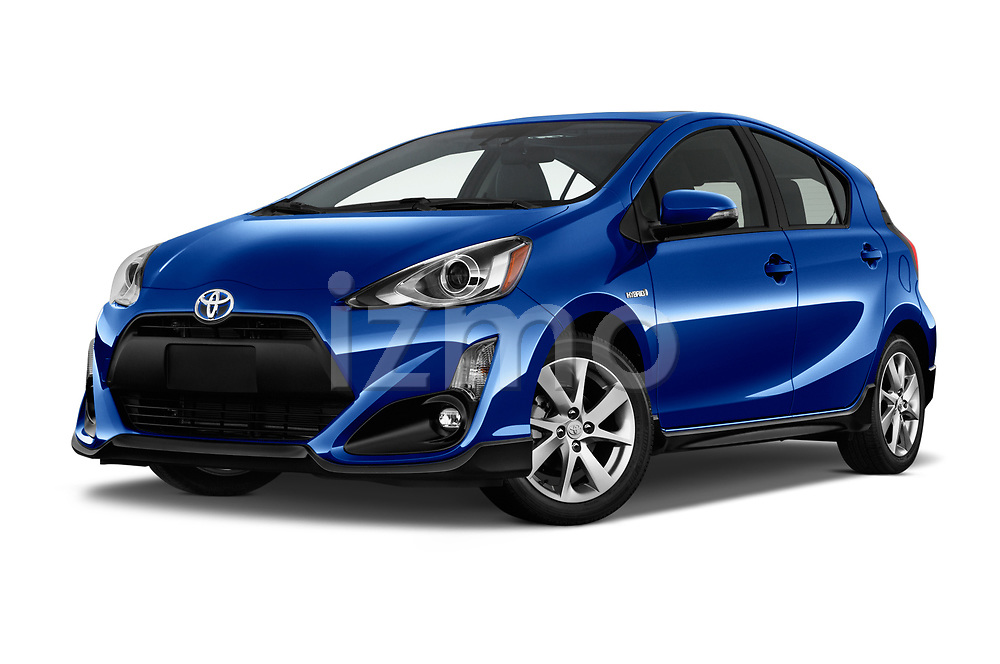 Stock pictures of low aggressive front three quarter view of 2017 Toyota Prius-c Four 5 Door Hatchback Low Aggressive