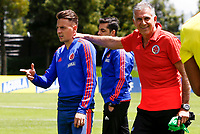 BOGOTA, COLOMBIA - JUNE 5: Colombia's national soccer coach Carlos Queiroz (R), jokes with Santiago Arias (L) during a training session on June 5, 2019 in Bogota, Colombia. Colombia will face Argentina, Paraguay and Qatar on their first stage of the Copa America Brazil 2019.  (Photo by VIEWPRESS/Leonardo Muñoz)