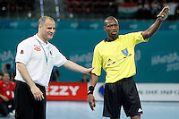 Algeria's coach Salah Bouchekriou with the referee during 23rd Men's Handball World Championship preliminary round match.January 15,2013. (ALTERPHOTOS/Acero) /NortePhoto