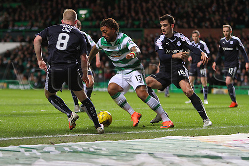 02.03.2016. Celtic Park, Glasgow, Scotland. Scottish Premier League. Celtic versus Dundee. Colin Kazim-Richards takes on Low of Dundess