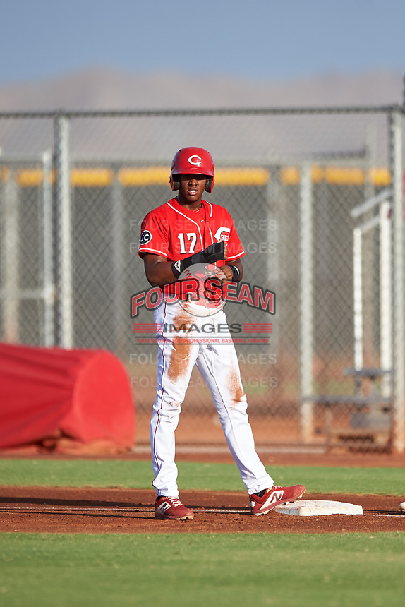 AZL Reds Fidel Castro (17) during an Arizona League game against the AZL Athletics Green on July 21, 2019 at the Cincinnati Reds Spring Training Complex in Goodyear, Arizona. The AZL Reds defeated the AZL Athletics Green 8-6. (Zachary Lucy/Four Seam Images)