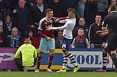 22/04/2016 Sky Bet Championship Preston North End v Burnley<br /> Matthew Lowton tangles with Joe Garner