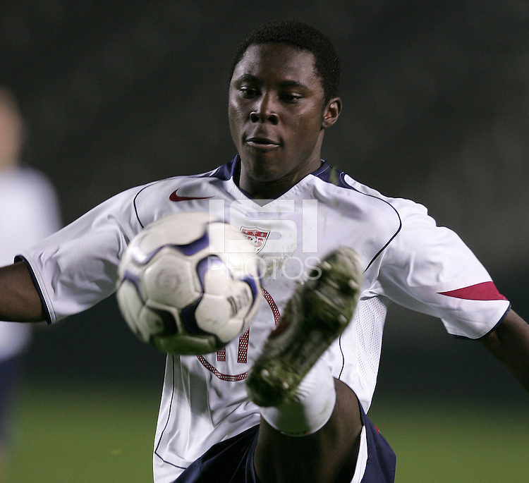 USA's Freddy Adu volley's a shot during a USA 6-1 victory over Trinidad, in Carson, Calif., Wednesday Jan. 12, 2004, during the opening round of the Under-20 CONCACAF qualification for the FIFA world championships.