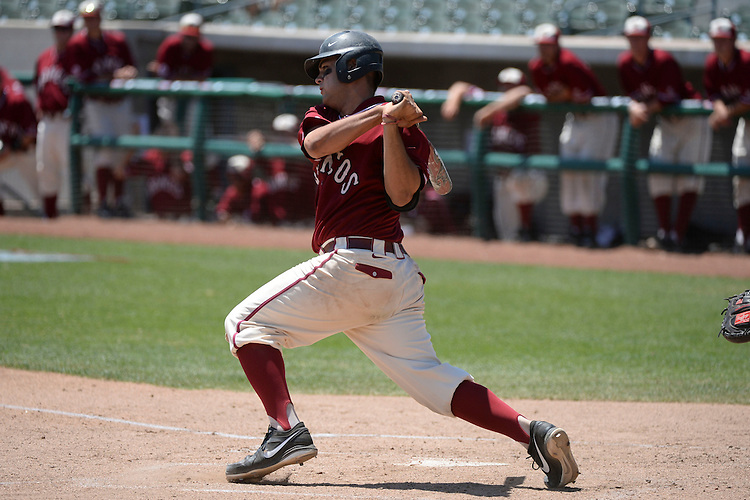 May 23, 2014; Stockton, CA, USA; Santa Clara Broncos catcher Stevie Berman (28) during the WCC Baseball Championship at Banner Island Ballpark.