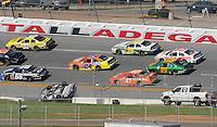 Apr 25, 2009; Talladega, AL, USA; NASCAR Nationwide Series driver Matt Kenseth slides upside down after flipping over on the backstretch during the Aarons 312 at the Talladega Superspeedway. Mandatory Credit: Mark J. Rebilas-