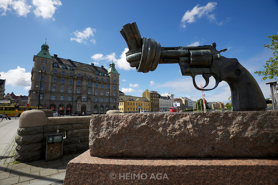 "Malmö. In 1980 Carl Fredrik Reuterswärd created an artwork, known as ""Non-violence"" or ""The knotted gun""."