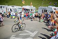 simon Clarke (AUS/Orica-GreenEDGE) up the Port de Bal&egrave;s (HC/1755m/11.7km/7.7%)<br /> <br /> 2014 Tour de France<br /> stage16: Carcassonne - Bagn&egrave;res-de-Luchon (237km)