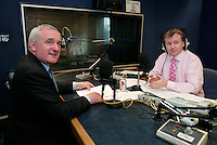 14/5/07 Taoiseach Bertie Ahern with Matt Cooper on Today FM's Last Word Show.: Picture:Arthur Carron/Collins