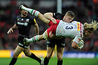 Chris Ashton of Saracens receives a yellow card for this tackle on Matt Hopper of Harlequins