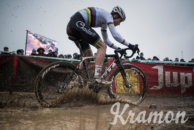rainbow splashing by Wout Van Aert (BEL/Crelan-Willems)<br /> <br /> elite man's race<br /> CX Superprestige Noordzeecross <br /> Middelkerke / Belgium 2017