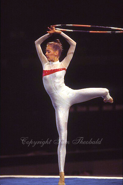 July 26, 1998; New York, NY, USA;  Rhythmic gymnast Kate Jeffress of USA performs gala exhibition with hoop at 1998 Goodwill Games New York. Copyright 1998 Tom Theobald