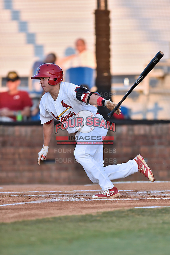 Johnson City Cardinals right fielder Matt Fiedler (26) swings at a pitch during Game Two of the Appalachian League Championship series against the Burlington Royals at TVA Credit Union Ballpark on September 7, 2016 in Johnson City, Tennessee. The Cardinals defeated the Royals 11-6 to win the series 2-0.. (Tony Farlow/Four Seam Images)