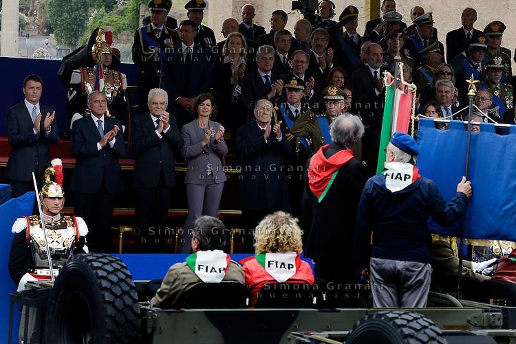 Roma, 2 Giugno 2016<br /> Associazioni reduci e partigiani.<br /> Celebrazioni e parata militare per il 70°anniversario della Repubblica italiana.<br /> Rome, June 2, 2016<br /> Celebration and military parade for the 70th anniversary of the Italian Republic