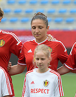 20150523 - SINT-TRUIDEN ,  BELGIUM : Belgian Sara Yuceil pictured during the friendly soccer game between the Belgian Red Flames and Norway, a preparation game for Norway for the Women's 2015 World Cup, Saturday 23 May 2015 at Staaien in Sint-Truiden , Belgium. PHOTO DAVID CATRY